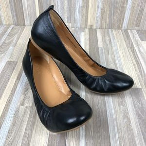 NWOT J. Crew Anya Black Leather Ballet Flats